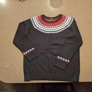 Talbots Black Fair Isle Crew Neck Sweater